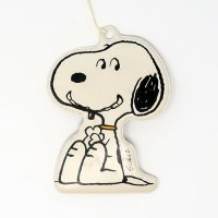 Snoopy sitting and smiling flat puffy plastic Ornament Gift Trim