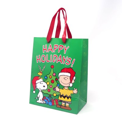 """Snoopy & Woodstock with presents """"Happy Holidays"""" Gift Bag"""