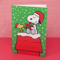 Snoopy & Woodstock on Doghouse with Present Christmas Cards