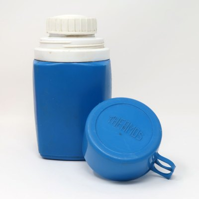 Snoopy and Woodstock Dancing Blue Plastic Thermos Flask