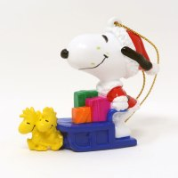 Santa Snoopy driving sleigh pulled by Woodstocks Ornament