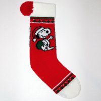 Santa Snoopy with bag Knit Christmas Stocking
