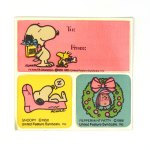 Snoopy, Woodstock and Peppermint Patty Stickers & Gift Tag