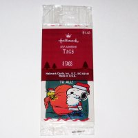 Santa Snoopy & Woodstock with Bag of Gifts Christmas Gift Tags
