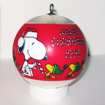 Snoopy giving Woodstock candy cane Satin Ball Ornament