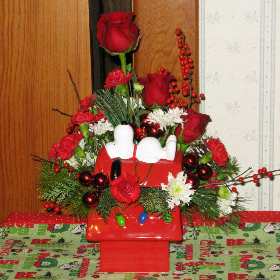 Snoopy Cookie Jar Bouquet on display