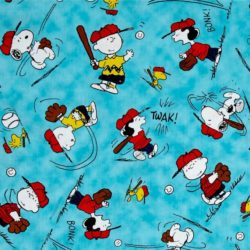 QT ~ PEANUTS Snoopy WoodstocK Blue Happiness Is ~ 100/% Cotton Quilt Fabric BTY