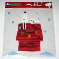 Snoopy on Doghouse Christmas Jelz Window Cling