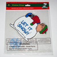 Linus on Snowball Christmas Gel Cling