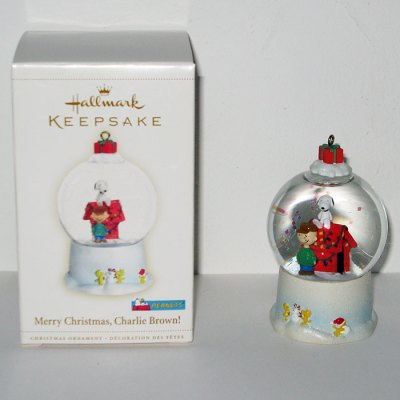 Snoopy and Charlie Brown Snow Globe Ornament