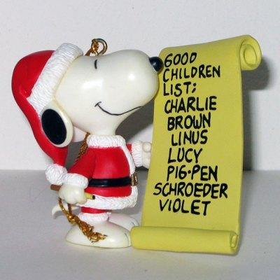 Santa Snoopy with List Christmas Ornament