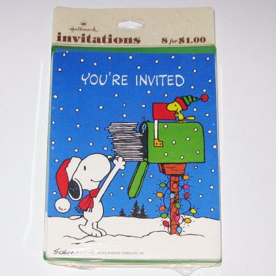 Snoopy & Woodstock Christmas Invitations