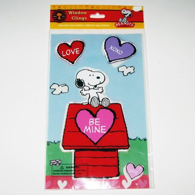 Snoopy on Doghouse Valentine's Window Gel Cling