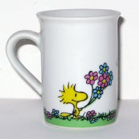 Woodstock giving Snoopy Flowers Mug Vase