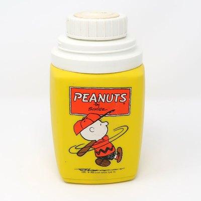 Baseball Charlie Brown Yellow Plastic Thermos Flask