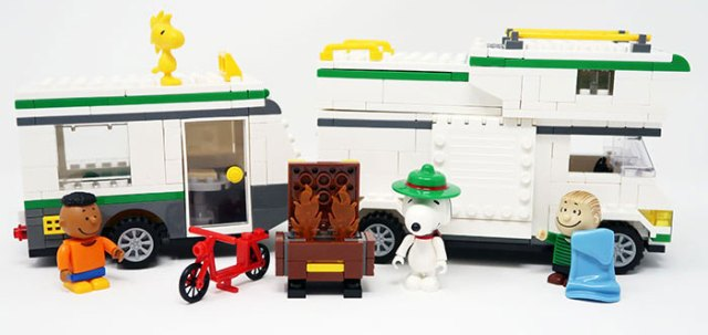 Peanuts building block sets available from BanBao. Snoopy's Camper Van and Trailer shown.