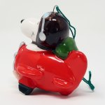 Snoopy in Plane Ceramic Christmas Ornament