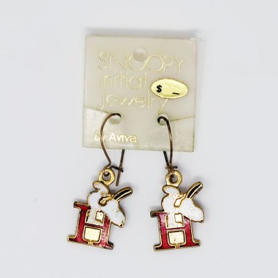 Snoopy handstand on letter H Earrings