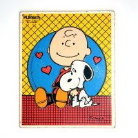 Snoopy leaning on Charlie Brown Wooden Tray Puzzle