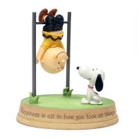Snoopy and Charlie Brown Hanging Upside-Down Figurine