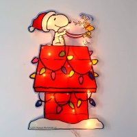 Santa Snoopy Doghouse Pre-Lit Window Decor