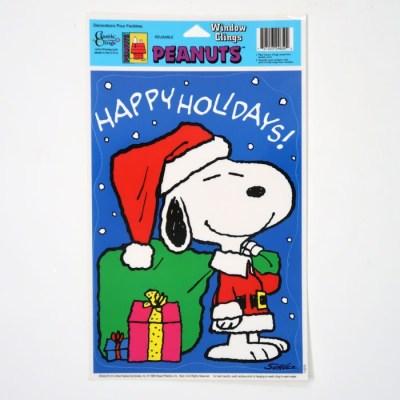 Santa Snoopy Window Cling Sheet