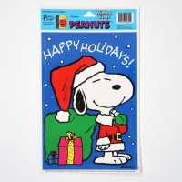 Santa Snoopy Window Cling Sheet