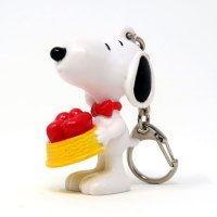 Snoopy holding Dog Dish of Hearts Valentine's Day PVC Keychain