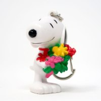 Snoopy holding flower bouquet Valentine's Day PVC Keychain