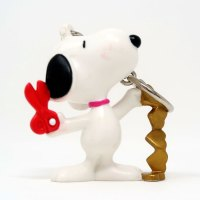 Snoopy Cutting Gold Heart Chain Valentine's Day PVC Keychain