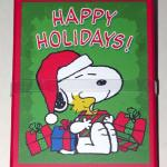 Santa Snoopy holding gift boxes and Woodstock Gift Card Box