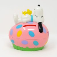 Snoopy & Woodstock laying on pink egg Bank Candy Container