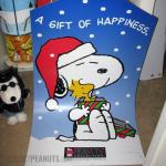 Snoopy hugging Woodstock 'A gift of happiness' Kohl's Christmas Gift Tag Display