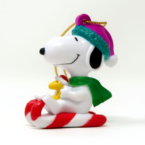 Snoopy candy cane sled Ornament