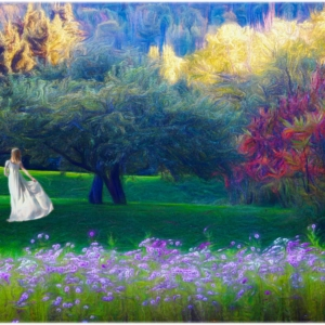 Girl in long, white dress moves in a colorful meadow with beautiul trees andd flowers