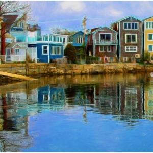 Colorful houses line the edges of harbor in Rockport, Maine