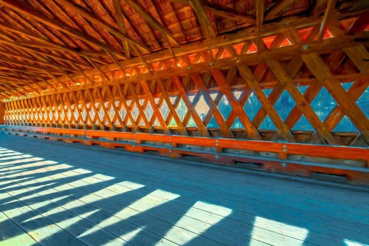 Interior of historic Hardwick Covered Bridge in Gilbertville, Massachusetts