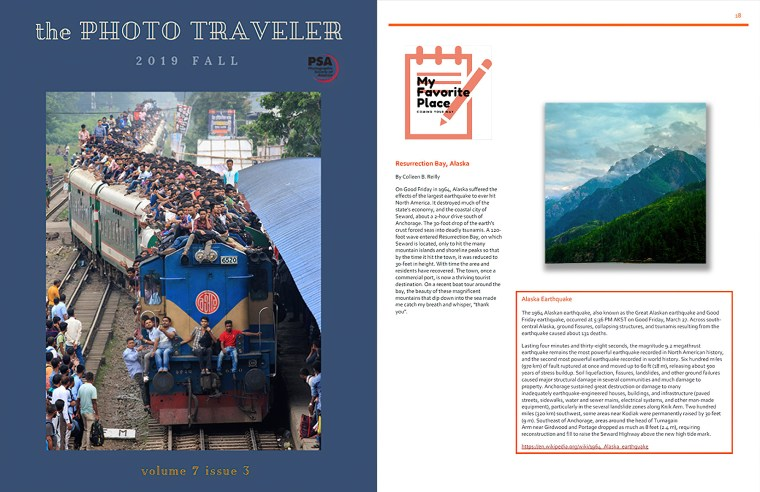PSA The Photo Traveler Magazine front cover, and article by Colleen B. Reilly. 2019 Fall