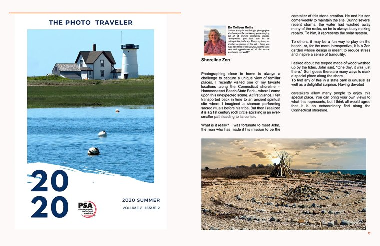 PSA The Photo Traveler Magazine front cover, and article by Colleen B. Reilly. 2020 Summer