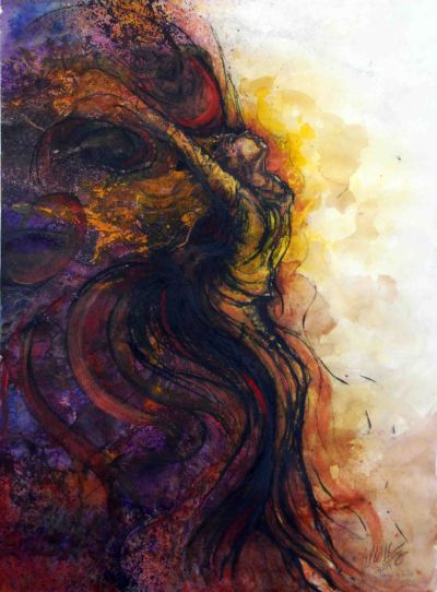 """Longing to Be Free; 2009; 15"""" x 20""""; mixed media: watercolor, ink, pastel. Privately owned."""