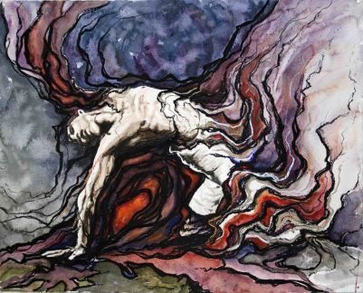 """Moment Between Death... and Life; 2012; 20"""" x 16""""; mixed media: watercolor, charcoal, pastel."""