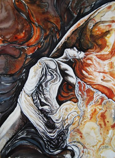 """Sifted Into Gold; 2014, re-worked 2015; 21"""" x 29""""; mixed media: ink, pastel, watercolor. Privately owned."""