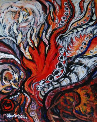 """Flames and Wings in process; 2015, re-worked 2016; 15.5"""" x 19.5""""; mixed media: ink, watercolor, acrylic."""