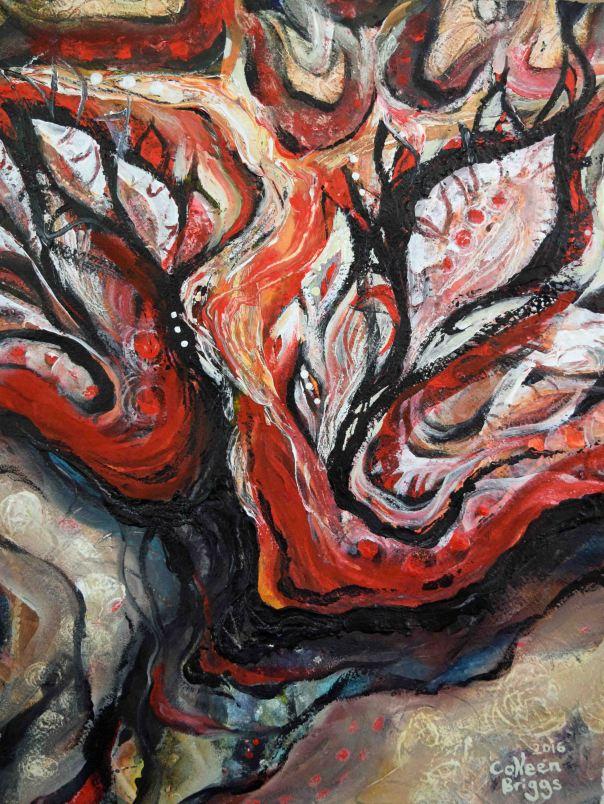 "Soul on Fire; 2016; 11.5"" x 14.5""; acrylic, watercolor, ink."
