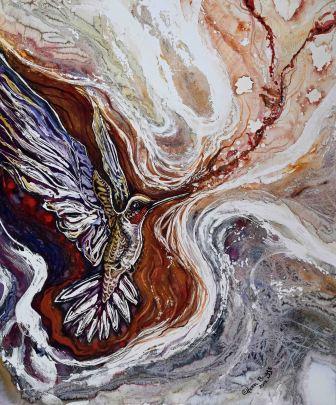 "Arise (3) 2017; 20"" x 25""; mixed media: ink, watercolor, acrylic."