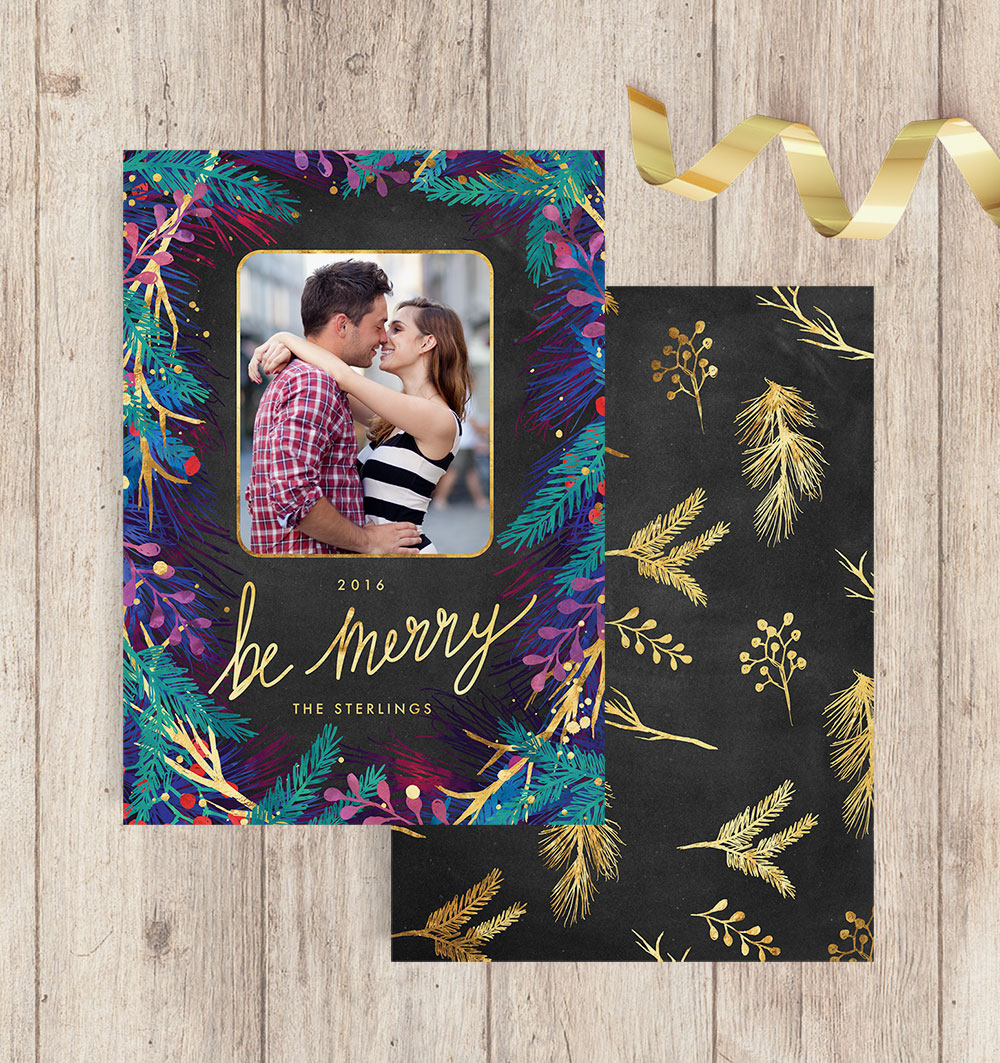 Merry Botanicals Photo Christmas Cards - Front and Gold Patterned Back