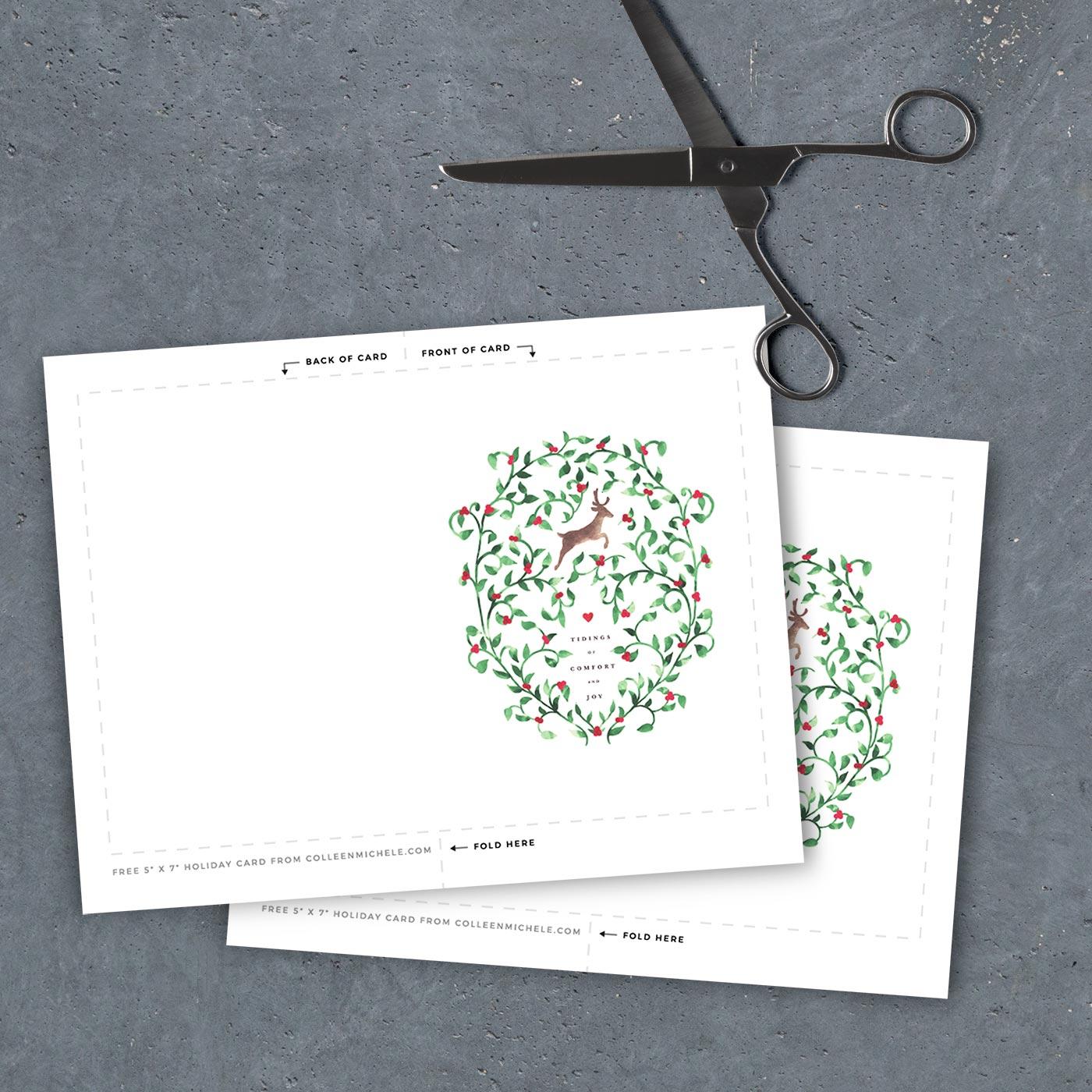 """Free printable Christmas card - 5"""" x 7"""" template PDF file"""
