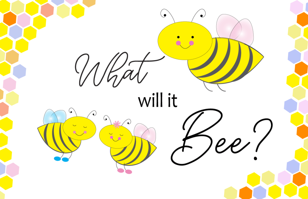 free gender reveal bee theme printable poster