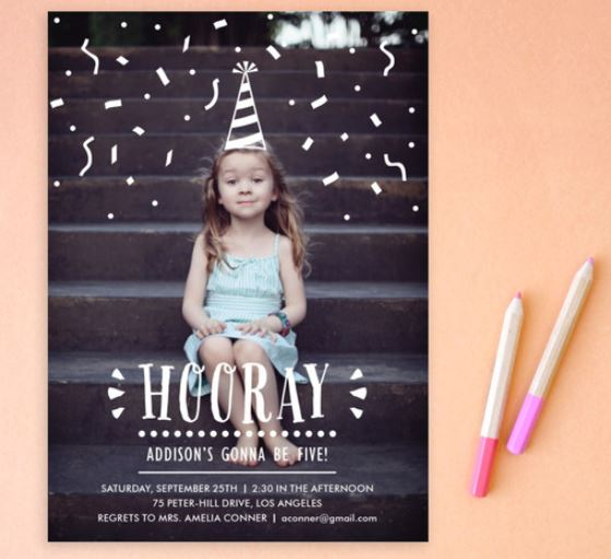hooray - creative confetti invitation