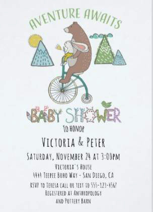 Adventure awaits baby shower invitation with bear